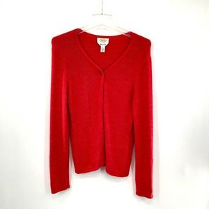 Talbots Cardigan Sweater Red Italy Viscose Blend S